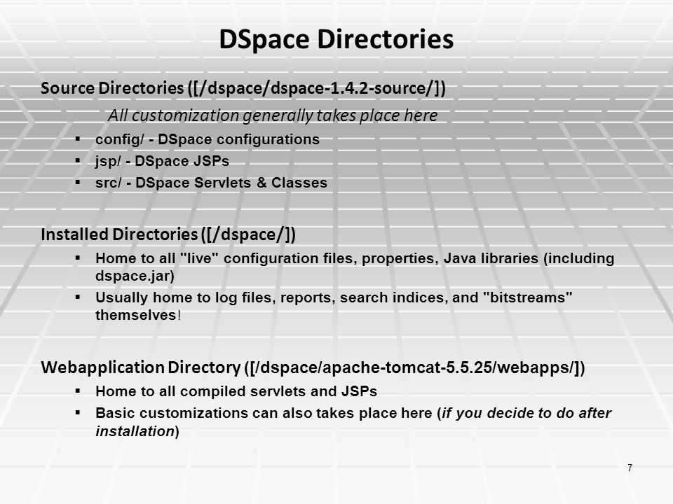 DSpace Directories Source Directories ([/dspace/dspace-1.4.2-source/])